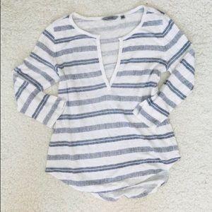 Athleta linen stripe t shirt